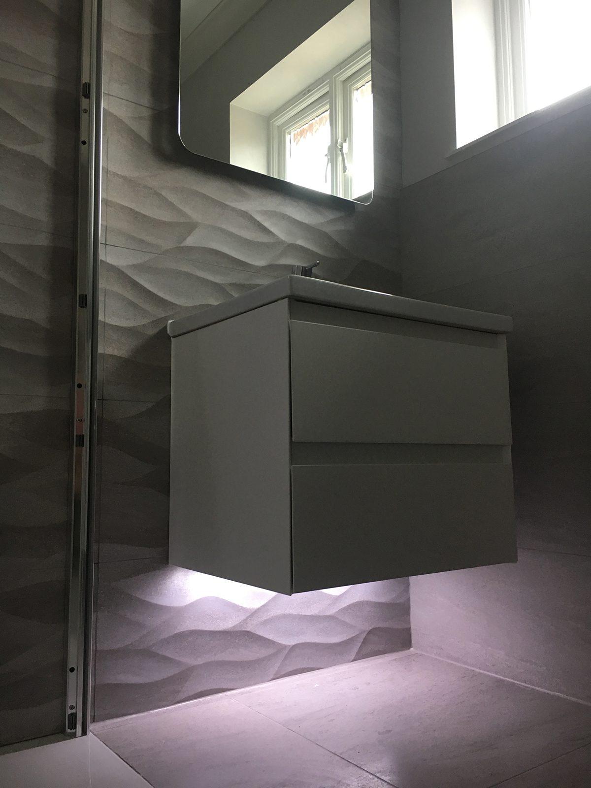 The Cambridge Bath Co bathroom storage with lighting